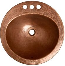 Oval Drop-in Bathroom Sink Aged Copper Hand Hammered Texture Basin Vanity Rustic