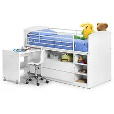 White Julian Bowen Leo Mid-Sleeper Kids Bunk Cabin Bed + Shelves  Drawers + Desk