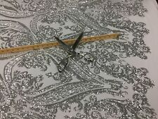 Silver Royalty Design Embroider With Sequins On A 2 Way Stretch Mesh-by Yard