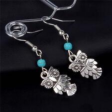 Bohemia Folk-custom Silver Plated Cute Owl Turquoise Dangling Earrings