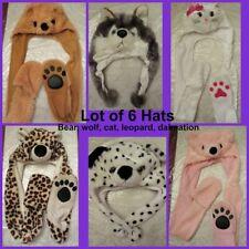 6 Hat Lot Assorted Animal Hats 3D Fluffy Stuffed Girls Cap Bear Cat Wolf Leopard
