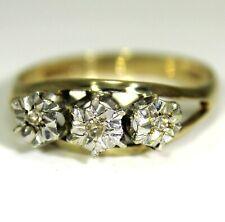 Illusion set Diamond Trilogy 9ct Yellow Gold ring size O 1/2 ~ 7 1/2