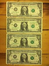 1999 Federal Reserve Banknote One Dollar Bill Circulated -Lot of 4 $1