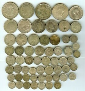 MIXED WORLD COINS ~ 58 PIECE SILVER LOT