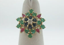 Natural Rubies Sapphires Emeralds Diamond SNOWFLAKE Solid 14K Yellow Gold Ring