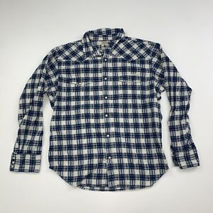 Lucky Brand Plaid Pearl Snap Shirt Size Mens Large Blue White