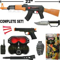 AK-47 TOY ASSAULT RIFLE SET KID BOY MACHINE GUN SOUND MILITARY ARMY CAR-15 M-16