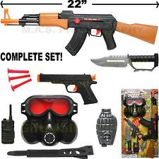 AK-47 TOY ASSAULT RIFLE SET KID BOY MACHINE GUN SOUND MILITARY ARMY CAR-15 M-16