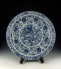 Amazing China Antiques Blue&White Porcelain Plate with Coiled Dragon Deco