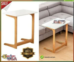 Zoopolyn Tv Tray Table For Living Room Bamboo End Table For Sofa Bed L-Shape
