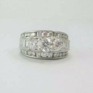 ESTATE LADIES 14K WHITE GOLD DIAMOND 3-STONE ENGAGEMENT RING 3.18CTS GIA $6,531