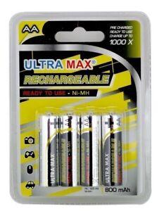 4 x AA RECHARGEABLE BATTERIES*SOLAR LIGHTS-DECT PHONES