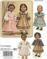"18"" Girl DOLL Old-Fashioned Clothes Civil War Simplicity 1391 American Pattern"