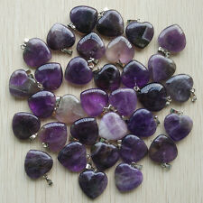 High quality Natural amethyst stone Love Heart Pendants 50pcs/lot Wholesale