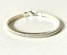 Solid Sterling Silver Texture Effect Ridged Bracelet - 7.5inch