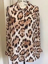 INC Sheer Button down Top Blouse Animal print long sleeves Brown Black  18W