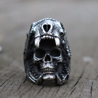 Mens 316L Stainless Steel Biker Rings Vintage Jaguar Warrior Skull Ring Jewelry
