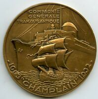 FRANCE DELAMARRE BRONZE MEDAL 1932 FRENCH LINE TRANSATLANTIQUE SHIP CHAMPLAIN