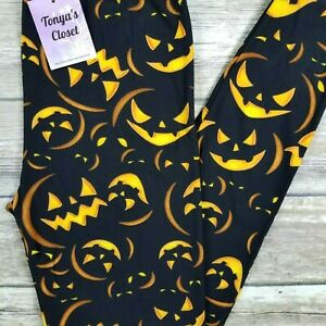 PLUS Spooky Pumpkin Leggings Jack O Lantern Halloween Print Butter Soft 10-18 TC