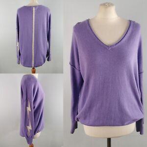 Mint Velvet S 10 12 14 Lilac Purple Slouchy Jumper Lighting Bolt Arms Dip Hem