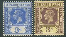 Leeward Islands 1921 deep-ultramarine 3d purple on yellow 3d mint SG68a/69