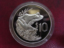 1986 Fiji Large  Silver Proof $10- Frog