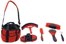Showman 6 Piece Deluxe Soft Grip Grooming Kit w/ Nylon Carrying Bag! Colors