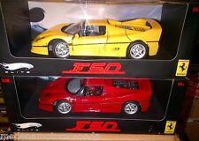 LOT OF 2 MODELS FERRARI F50 RED & YELLOW HOT WHEELS ELITE 1:18 BRAND NEW IN BOXS