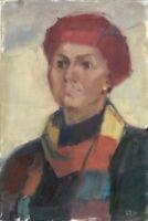 """Russischer Realist Expressionist Öl Leinwand """"Porträt"""" 45 x 30 cm"""
