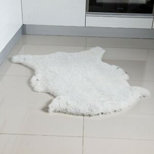 "Genuine Sheepskin Rug Ivory White Sheep Skin Fur- Australian Sheep Rug 22"" x 30"""
