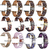 Leopard Tortoise Resin Watches Straps Bands Bracelets For Apple iWatch 40mm 44mm