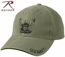 USA Navy Eagle Logo Low Profile Hat - Rothco OD Adjustable Military Baseball Cap