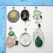Free Shipping Online Stores ! 925 Silver Plated 6pcs GEMSTONE Pendants WHOLESALE