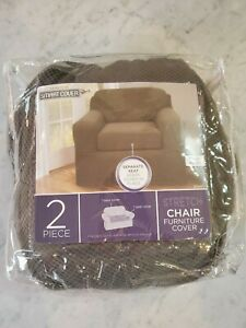 Maytex Conrad 2-Piece Chair Furniture Cover / Slipcover, Chair, Chocolate