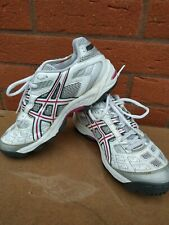 ASICS GEL LETHAL MP4 WOMENS FIELD HOCKEY WHITE & SILVER TRAINERS SIZE 5 UK