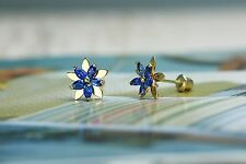 14K Yellow Gold Baby Flower September Birthstone Screwback Kids Earring For Kids