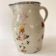 Antique Pitcher Stoneware Jug Primitive Farmhouse Floral Painted Vtg Folk Art
