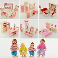 6 Kids Wooden Furniture Dollhouse Miniature Family Room Sets Dolls for Children