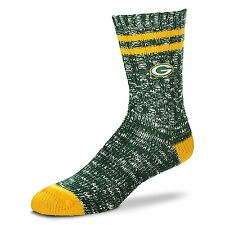 GREEN BAY PACKERS NFL FOR BARE FEET ALPINE ADULT CREW SOCKS - LARGE