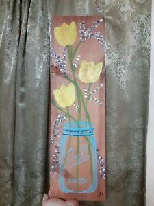 Folk Art Primitive Painting on Wood Flowers Mason Jar Spring Celebration Signed