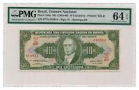 BRAZIL banknote 10 CRUZEIROS 1953. PMG MS-64 EPQ
