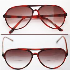 Reading Glasses Bifocal TINTED 70-80's Office Style ~ Red Tort Frame +1.25 Lens