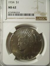 1934 PEACE SILVER DOLLAR MS62 NGC