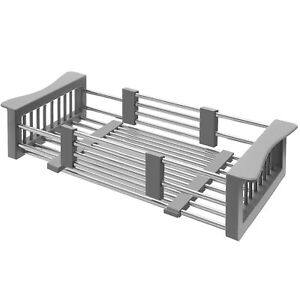Expandable Stainless Steel Over Sink Adjustable Dish Drying Rack Drainer