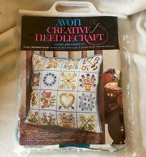 "Avon Floral Sentiments Creative Needlecraft Crewel Embroidery Kit 14"" Pillow"