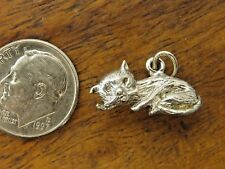 Vintage sterling silver Laying Down Resting Solid Cat Bracelet charm