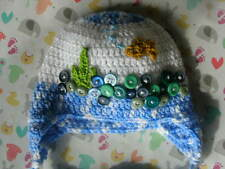 Baby hat. Fish bowl hat. Blue/white. Fish. 3-6 months. Hand made. New. Earflap