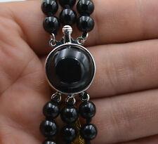 "New charming 3 rows 6mm Black Onyx Gemstone Necklace 17-19 """
