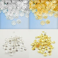 500Pcs Gold Silver Plated Hollow Flower End Beads Caps Charm Jewelry Making 6mm