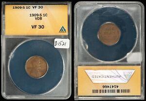 1909-S VDB 1c Lincoln Wheat Small Cent - Key Date - ANACS VF 30 - SKU-B1521